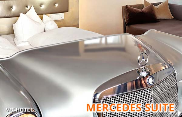 Mercedes Suite V8 Hotel; experience luxury on four levels; W108 W109; Motorworld Stuttgart