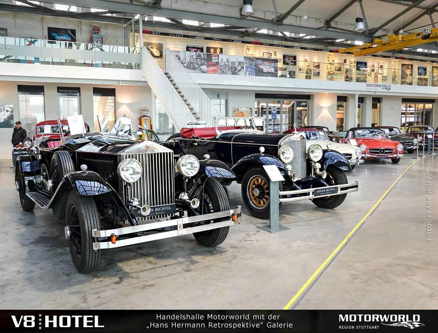 Rolls Royce und Mercedes in der Handelshalle Motorworld Region Stuttgart